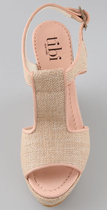 Tibi T Strap Linen Platform Sandals