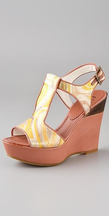 Tibi T Strap Brocade Platform Sandals