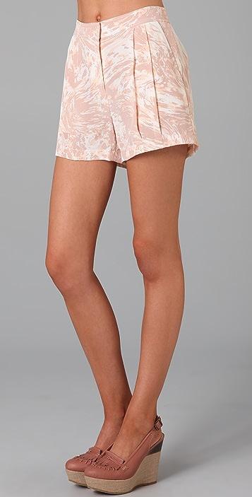 Tibi Marble Print Shorts