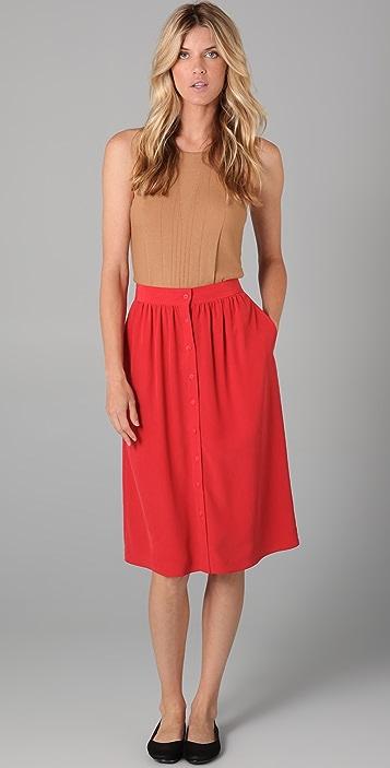Tibi Midi Skirt with Buttons