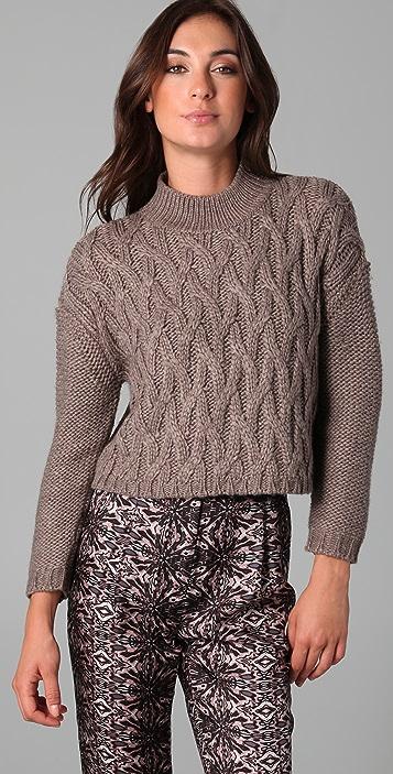 Tibi Long Sleeve Cropped Sweater