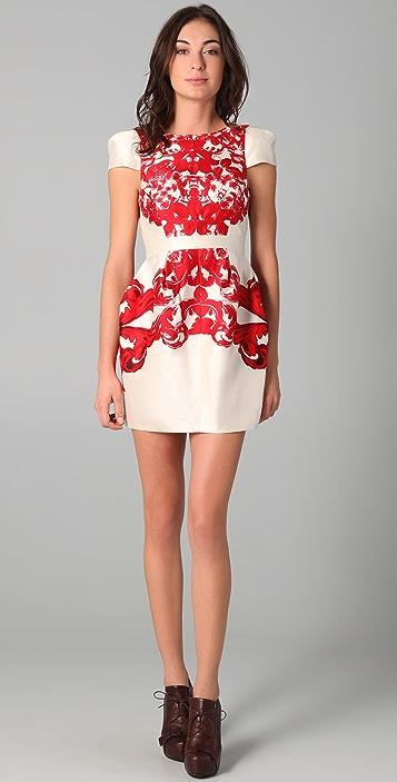 Tibi Rococo Print Cap Sleeve Dress