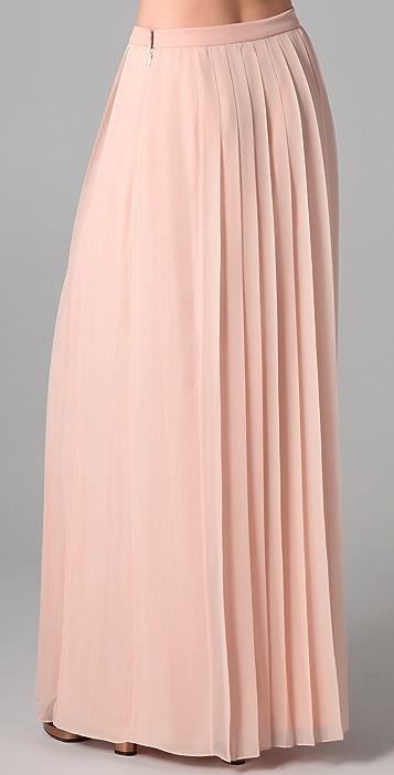 Tibi Long Silk Chiffon Pleated Skirt