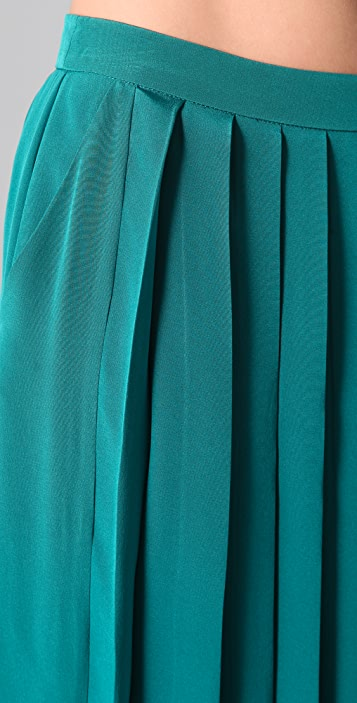 Tibi Long Silk Pleated Skirt