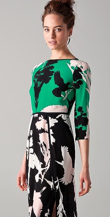 Tibi Fern Print Long Sleeve Dress