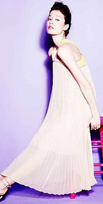 Tibi Pleated Midi Dress with Beading