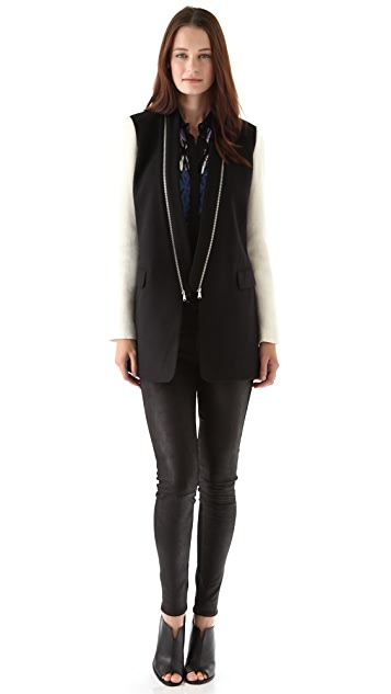 Tibi Wool Coat with Knit Sleeves