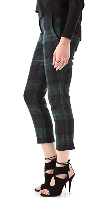 Tibi Plaid Skinny Beatles Pants