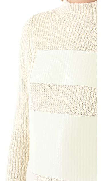 Tibi Chunky Sweater with Patent