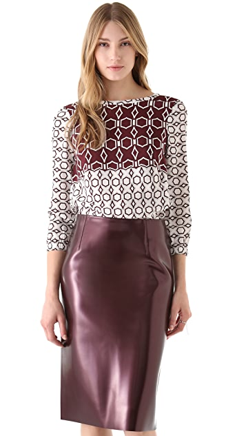 Tibi Alton Print Silk Top