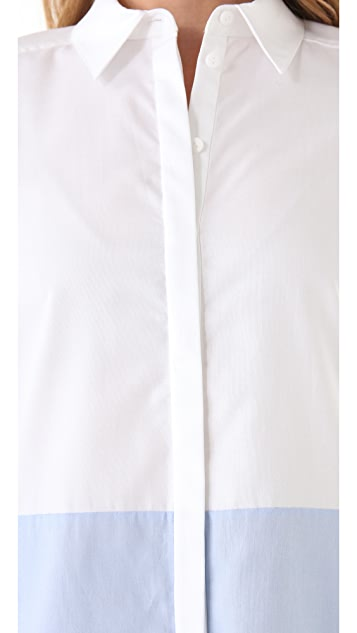 Tibi Colorblock Button Down Shirt