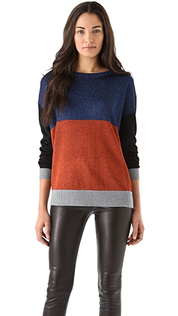 Tibi Colorblock Lurex Sweater