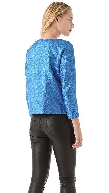 Tibi Coated Jersey Drop Shoulder Top