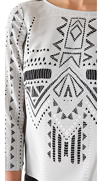 Tibi Printed Eyelet Tie Back Top