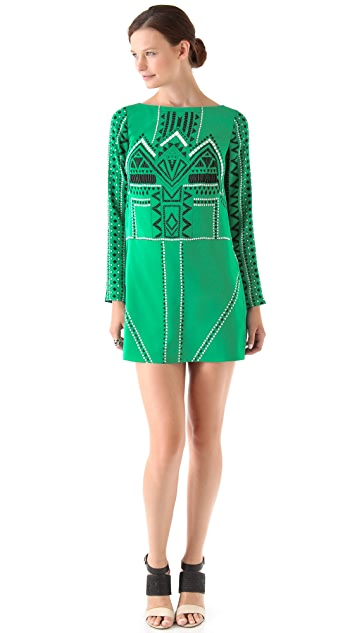 Tibi Printed Eyelet Shift Dress