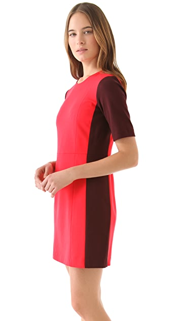 Tibi Colorblock Ponte Short Sleeve Dress