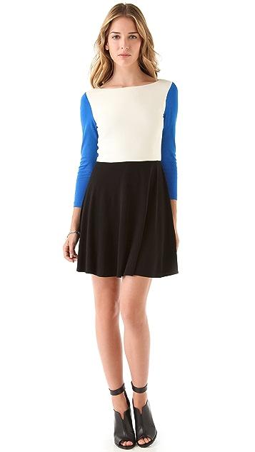 Tibi 3/4 Sleeve Colorblock Dress