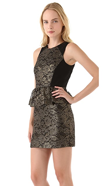 Tibi Foil Lace Peplum Dress