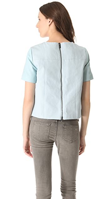 Tibi Leather & Canvas Top