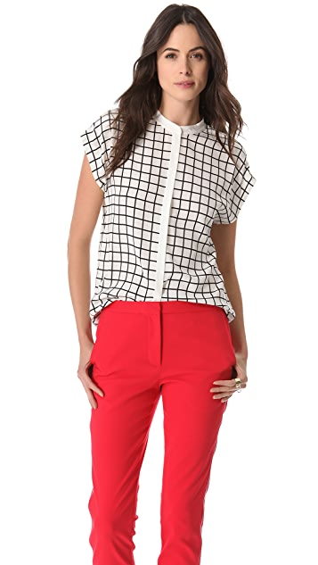 Tibi Windowpane Easy Top