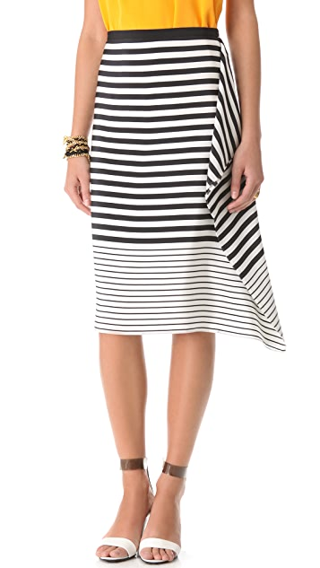 Tibi Claire Stripe Draped Skirt