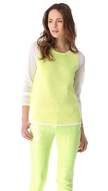 Tibi Easy Sweater with Gauze Sleeves