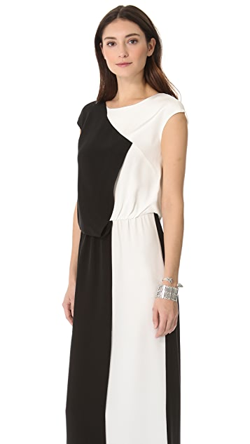 Tibi Long Colorblock Gown