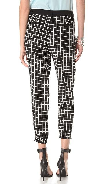 Tibi Windowpane Pleated Pants