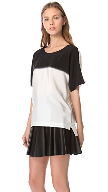 Tibi Faded Easy Stripe Top