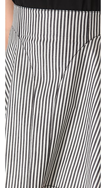 Tibi Striped Denim Paneled Skirt