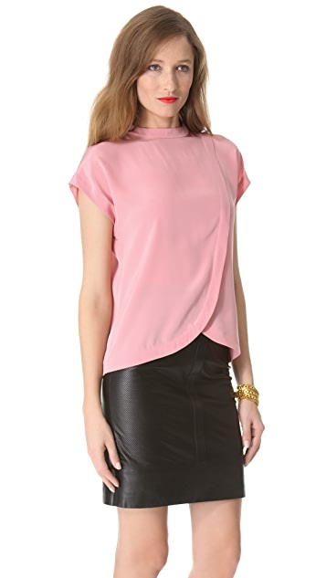 Tibi Heavy Silk Short Sleeve Top