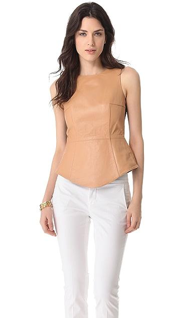 Tibi Sleeveless Leather Top
