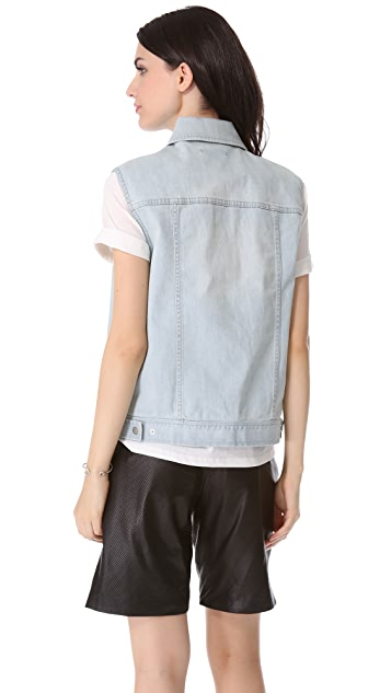 Tibi Vintage Wash Denim Vest