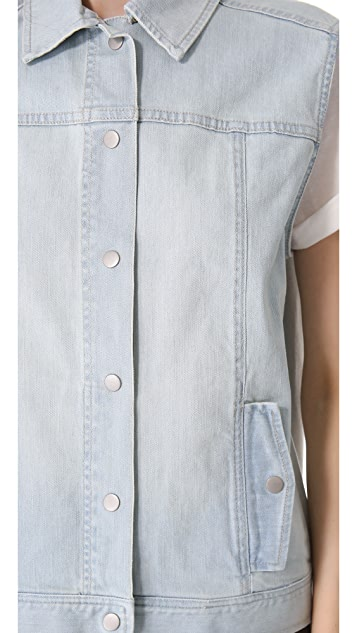 Tibi Vintage Wash Denim Vest