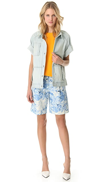 Tibi Daisies Pleated Shorts