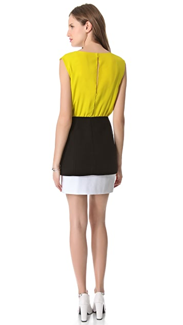 Tibi Basket Weave V Neck Dress