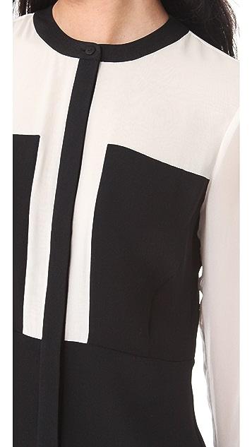 Tibi Heavy Silk Paneled Dress