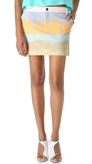 Tibi Analog Print Denim Skirt