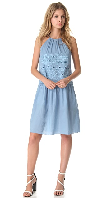 Tibi Eyelet Embroidery Halter Dress