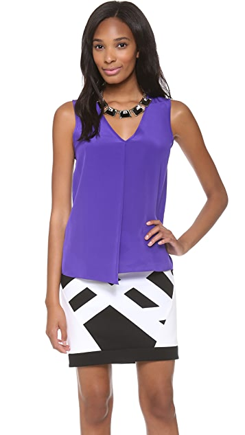 Tibi V Neck Draped Top