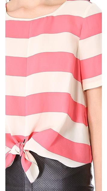 Tibi Stripe Tie Top
