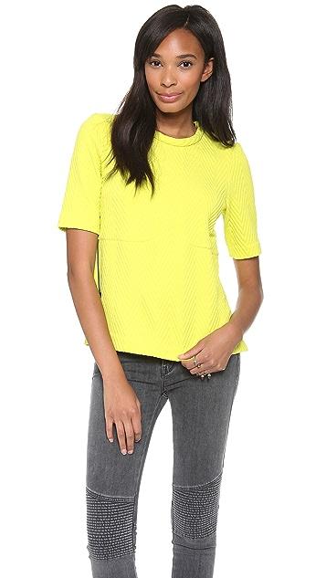 Tibi Short Sleeve Top with Zip