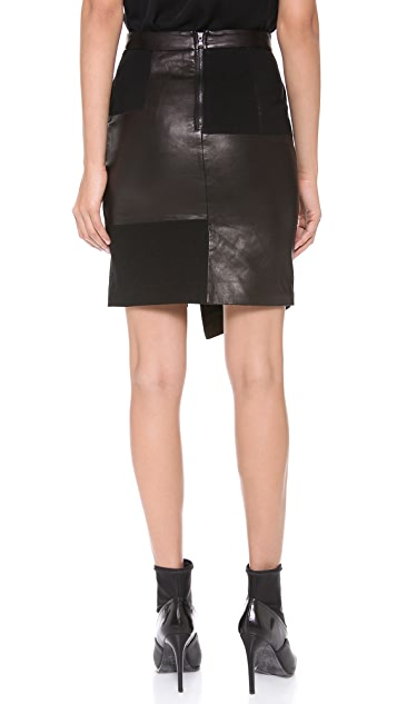 Tibi Patchwork Leather Skirt