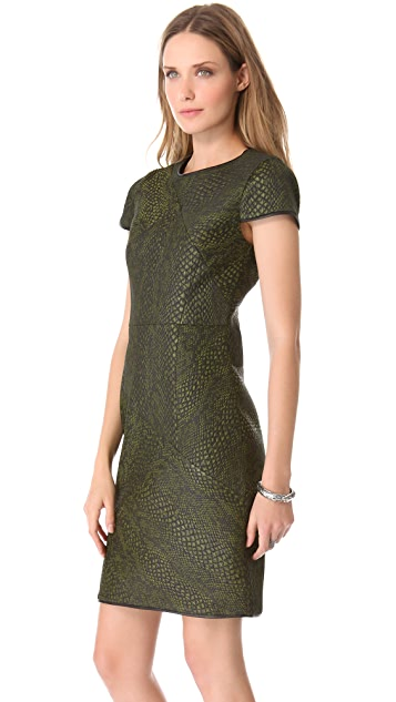 Tibi Cobra Jacquard Seamed Dress