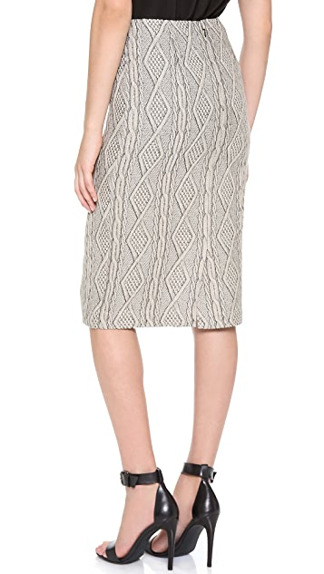 Tibi Cable Jacquard Pencil Skirt