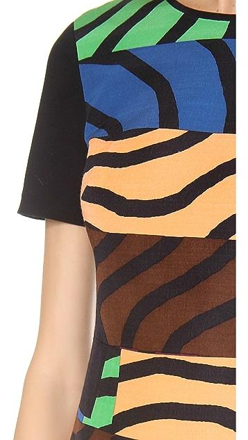 Tibi Short Sleeve Curved Hem Dress