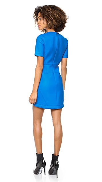 Tibi Short Sleeve Twill Dress