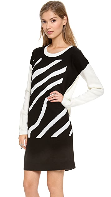 Tibi Zebra Stripe Jacquard Dress