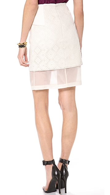 Tibi Paneled Embroidered Skirt