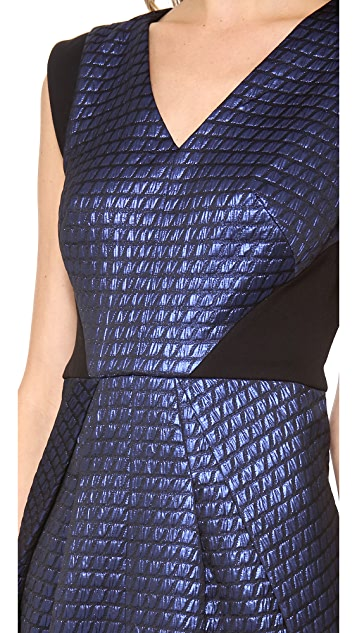 Tibi V Neck Dress with Ponte